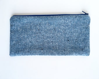 Blue tweed pouch