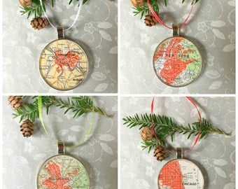 Map Ornament Custom City 50mm  Handcrafted for Holiday or Housewarming Gift for Travelers or Hometown Adventures Tree Trimmer