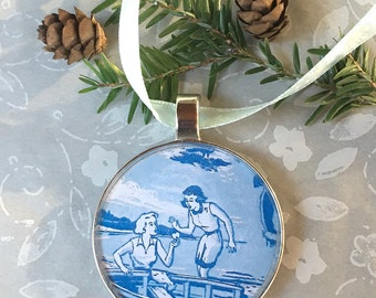 Nancy Drew Ornament  50mm  Handcrafted for Holiday Gift for your favorite Girl Detective Tree Trimmer Style 1