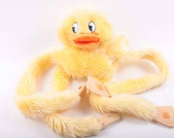 Furry Huggems Puppet, Tag, Duck, Plush Toy, Long Arms, Can Attach, Yellow, Vintage ~ The Pink Room ~ 160907