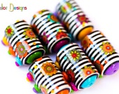 Black&White stripes and flowers barrel beads - 6 Handmade polymer clay beads - barrel beads - tube beads - colorful beads