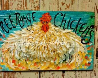 "11"" x 16"" #703 Chicken Sign Funky Folk Art Signs Hen Hens"