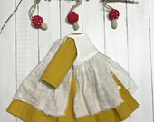 """Sandpiper Dress with White Linen Pinny - 18"""" - 20"""" Doll"""