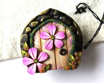 Pink Flower Fairy Door Needle Minder, Sewing Needle Buddy, Sewing Accessory, Needle Nanny, Needle Magnet, Needlepoint Accessory