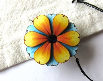 Yellow and Blue Flower Needle Minder, Magnetic Needle Nanny Handcrafted from Claybykim