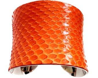 Tangerine Orange Snakeskin Silver Lined Cuff Bracelet - by UNEARTHED