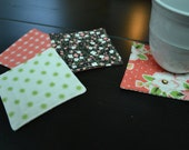 Set of 4 Reversible Quilted Coasters, Spring Coasters, Floral Coasters, Fabric Coasters, Tea Time, Coffee Lovers