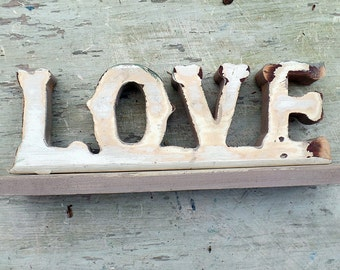 Wooden Love Sign, Salvaged Wood Decor, Kitchen Sign, Reclaimed Wood Sign, Shelf Sign, Rustic Sign, Nursery Sign