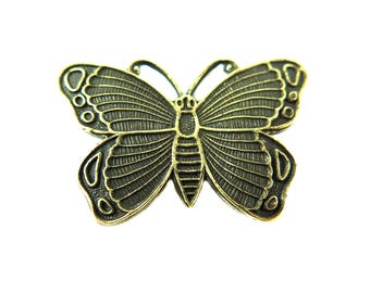 Antiqued Brass Butterfly Pendants (2X) (V297-E)