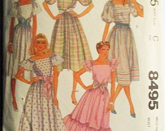 1980s Vintage Sewing Pattern McCalls 8495 Misses Dress & Tie Belt Pattern Size 8 Bust 31 1/2