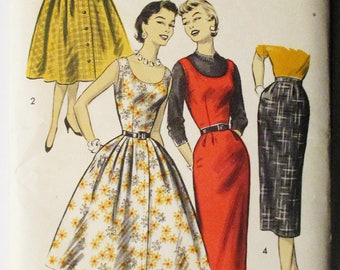 1950s Vintage Sewing Pattern Advance 8029 Misses Jumpers & Skirts Pattern Size 12 Bust 30 Uncut