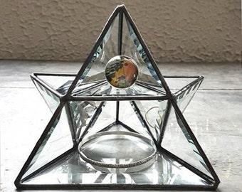 Stained Glass Pyramid Display Shelf. Air Planter. Succulent Planter. Jewelry Storage. Glass Jewelry Display Shelf. Housewarming Gift.