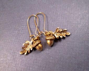 Acorn and Oak Leaf Earrings, Brass Dangle Earrings, FREE Shipping U.S.