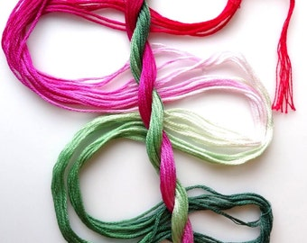 """Embroidery floss """"Candy Mint"""" hand dyed cotton"""