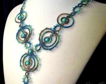 Lace necklace geometric tatting aqua green ecru mixed media fiber art jewelry