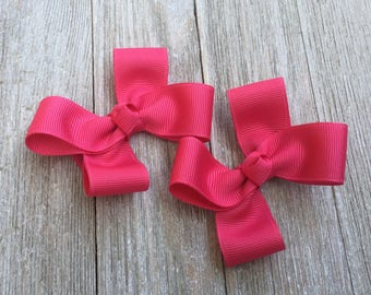 French Pink Hair Bows,Pigtail Hair Bows,Alligator Clips,3 Inches Wide,Birthday Party Favors