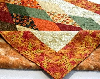 "AUTUMN Sofa Throw, Bed Coverlet, flannel backed snuggle Quilt 59"" x 80"" Ready to Ship"