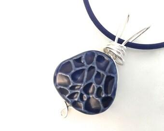 Pendant Porcelain Ceramic Cobalt Blue Celadon  Ready to Ship Great Stocking Stuffer PNT00012