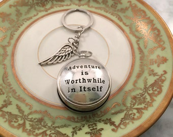 Adventure is Worthwhile in Itself Keychain, Gift for her, Gift Under 30, Working Compass, Custom Keychain, Girlfriend Gift, Graduation Gift