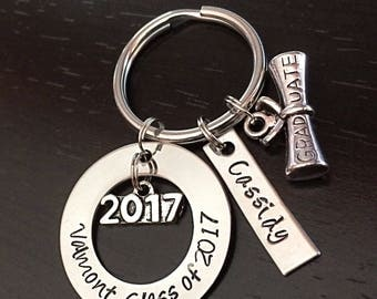 Graduation Class of 2017 Personalized Custom Hand Stamped Keychain with scroll charm