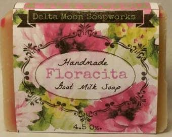 Handmade Floracita Goat Milk Soap, Shea Butter soap, Honeysuckle soap, soap for sensitive skin soap, cold process soap, olive oil soap