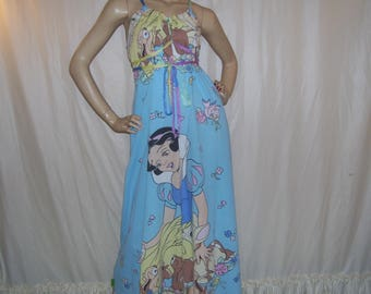 Snow White Sundress Animals Dopey Disney Cruise Resort Sundress Geek Princess Blue Long Maxi Maternity Mom Party Long Adult M L XL Dress