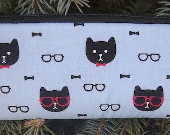 Cat padded zippered glasses case with d-ring, Dapper Cats, The Spex