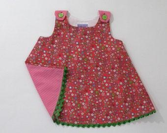Pink Doodle Floral Baby Girls' Dress, Girls' Pinafore, Girls' Sundress, Girls' Sleeveless Cotton Dress, Easter Dress, Size 6 - 12 Months