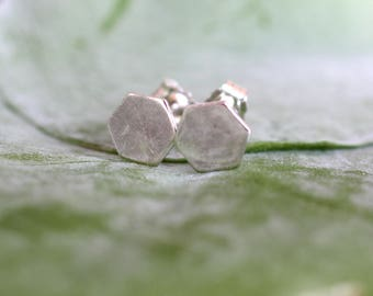 tiny sterling silver hexagon studs on sterling silver posts