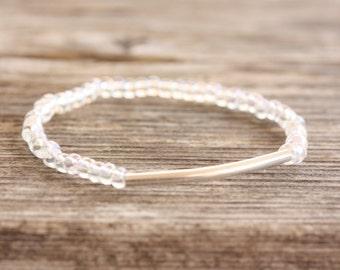 Clear Seedbead Stretch Bracelet with Silver Bar, Minimalist Bracelet, Yoga Bracelet, Stacking Bracelet, Layering Bracelet
