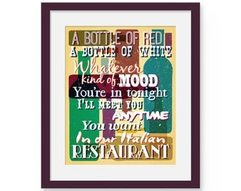 """In Our Italian Restaurant / Billy Joel Lyric Art Print 8x10 or 11x14 Typographical wall art """"A Bottle of Red, A Bottle of White"""" Wine Decor"""