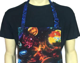 Outer Space Apron , Planets , Galaxies, Sci Fi Kitchen Decor , Starry Night , Astronomy / Professional Chef Apron