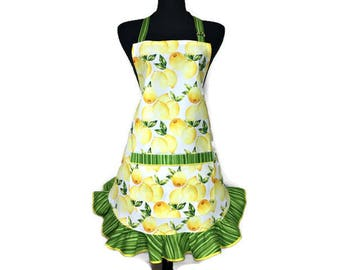 Lemon Apron for women with Green Retro style ruffle,  Unique Kitchen Decor