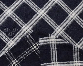 Japanese Fabric Yarn Dyed Wool plaid - dark navy, cream - 50cm