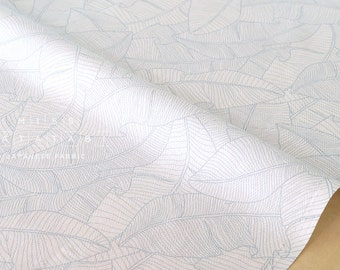 Japanese Fabric herringbone leaves - light grey blue - 50cm