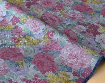Japanese Fabric - chambray floral - pink - 50cm