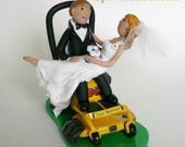 Reserved for Lisa P. Custom Wedding Cake Topper Bride and Groom Riding Lawn Mower