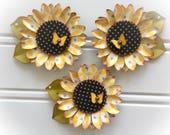 Spring Yellow Butterfly Polkadot Flower Embellishments set of 3