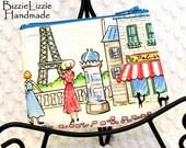 Retro Paris Fabric Change Purse, ID Card Pouch, Parisville Earbud Pouch, Change Wallet Zipper Pouch, Handmade Paris Change Zip, 10 and Under