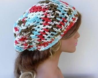 Cotton summer slouchy beanie hat, lotus blossom hippie Bohemian hat, small dread tam hat, slouchy hat, snood beanie, woman hat handmade