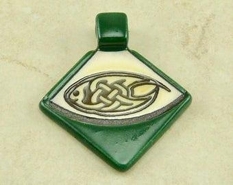 "Small Green Celtic Triangle Pendant - Oval Knot Knotwork Irish St Patricks Day Ivory Brown Clay River Designs 1 1/4"" I ship Internationally"