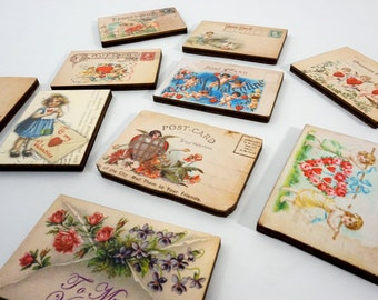 Valentine Postcards - Collection of 10 Wooden Craft Pieces