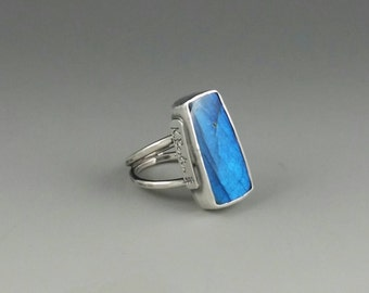 Mystical blue flash labradorite Ring . Sterling silver . Handcrafted . One of a kind