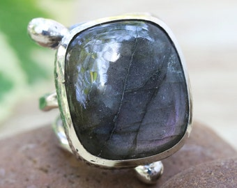Purple/gray square cabochon labradorite ring in silver bezel setting with sterling silver wrap band/TP