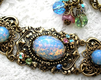 Blue Opal Rainbow Glass Opal Bracelet - Antiqued Brass Victorian Style Bracelet