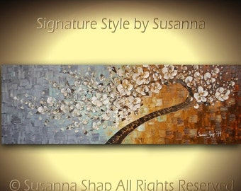72x24 ORIGINAL Huge Twisted Tree Painting Large Textured Twist Cherry Blossom Abstract Oil Painting Gallery Fine Art by Susanna Made2Order