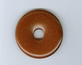 40mm Goldstone Donut, 40mm Brown Goldstone Glass PI Donut Focal Pendant 565M