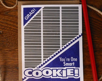 letterpress you're one smart cookie! graduation greeting card oreo double stuffed cream filled sandwich cookie you're so smart grad