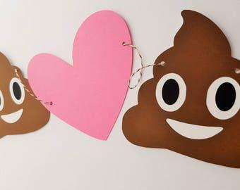 Poop Emoji Heart Garland Banner Bunting, Emoji Party Decor. Emoji Room Decor READY TO SHIP