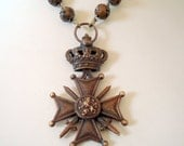 Vintage  Maltese Cross with Crown, Flower Design Metal Rosary Beads, Pendant Necklace